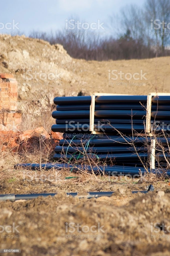 Black gas pipes stock photo
