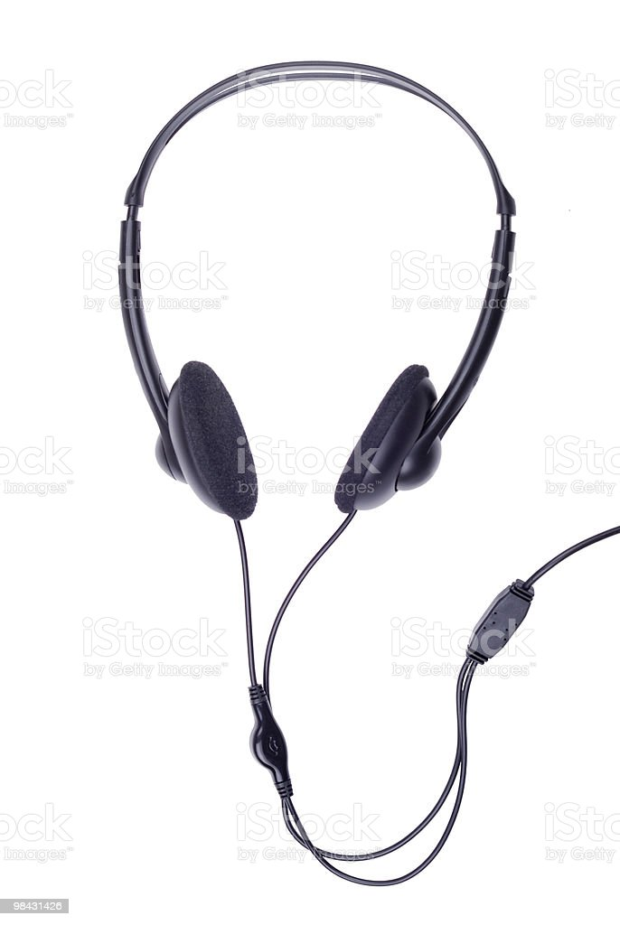 Black generic headphones on white royalty-free stock photo