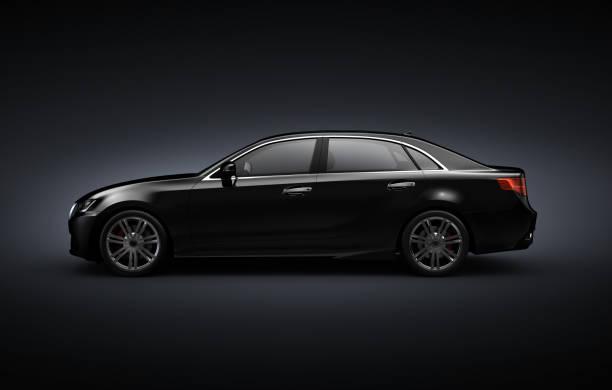 Black Generic sedan car  on black background - 3D illustration Black Generic sedan car  on black background - 3D illustration side view stock pictures, royalty-free photos & images