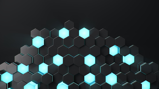 Black geometric hexagonal abstract background. Surface polygon pattern with blue glowing hexagons, honeycomb. Abstract blue self-luminous hexagons. Futuristic abstract background. 3D Illustration