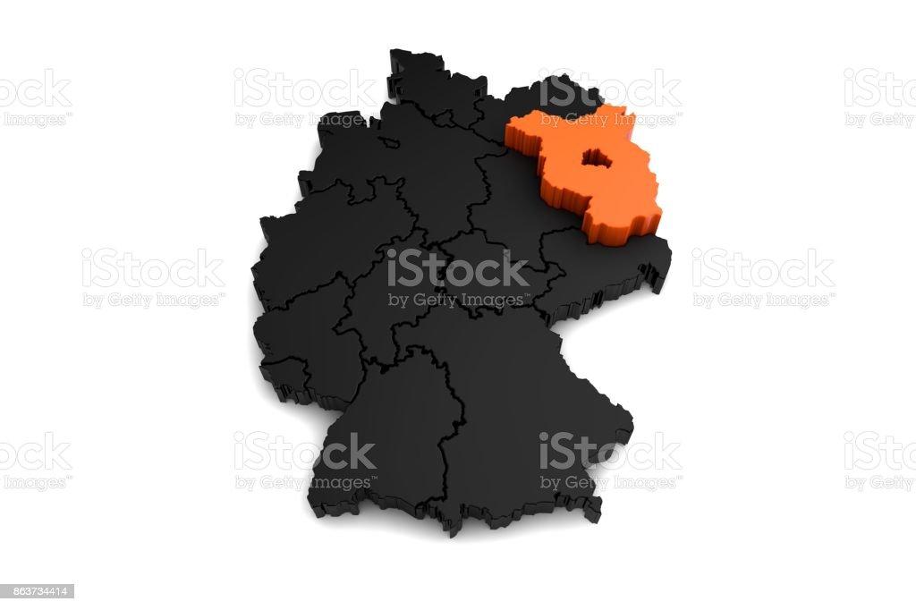 Carte Allemagne Thuringe.Photo De Stock De Rendre Noir Carte Dallemagne Avec La Region De