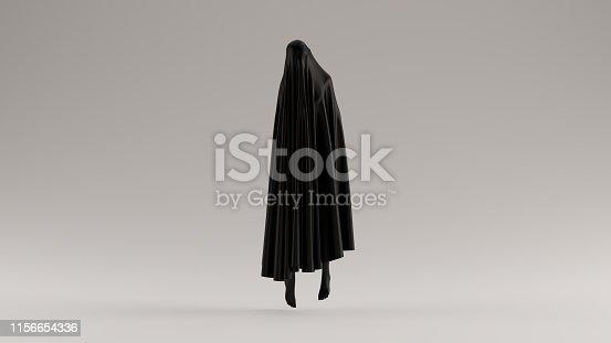 Black Ghost Floating Evil Spirit Front View 3d illustration 3d render