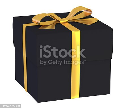 black, gift, box, isolated, 3d rendering