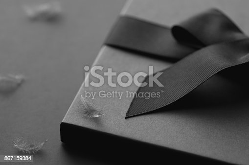 istock Black gift box on a dark contrasted background, decorated with a textured bow and feathers, creating a romantic atmosphere. Typically used for birthday, anniversary presents, gift cards, post cards, letters. 867159384