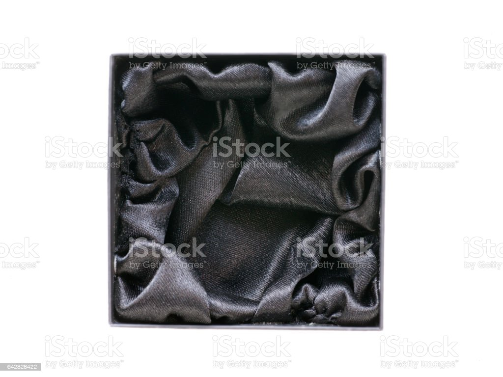 Black gift box with black silk inside stock photo