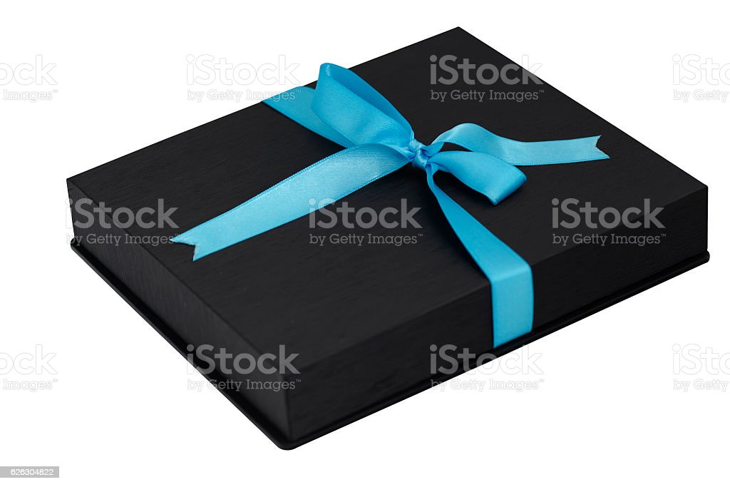 black gift box with blue ribbon on white background royalty free stock photo
