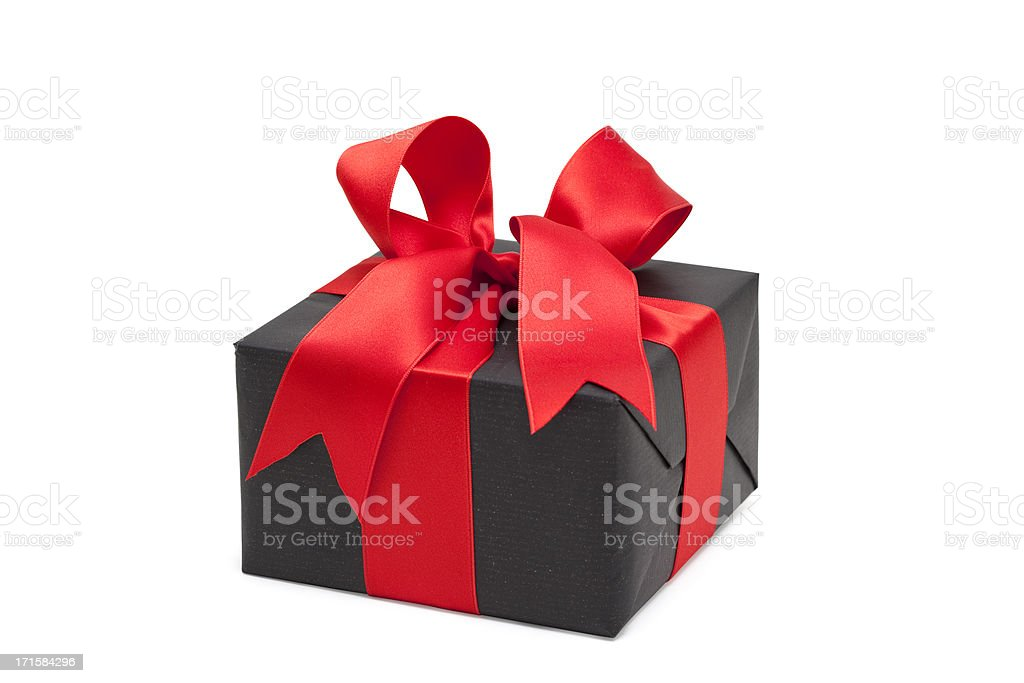 black gift box with red bow (clipping path) royalty-free stock photo