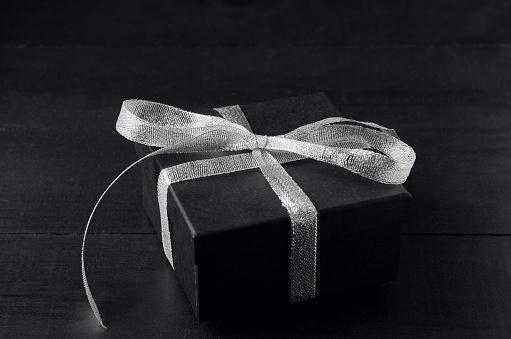 Christmas Gift Box on Black Slate