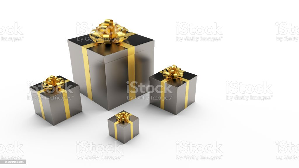 Black Gift Boxs With Golden Ribbon Bow On The Light