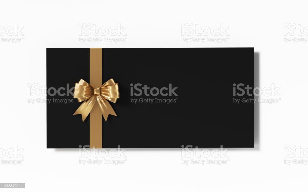 Black Gift Card With Gold Colored Bow Tie On White Background stock photo