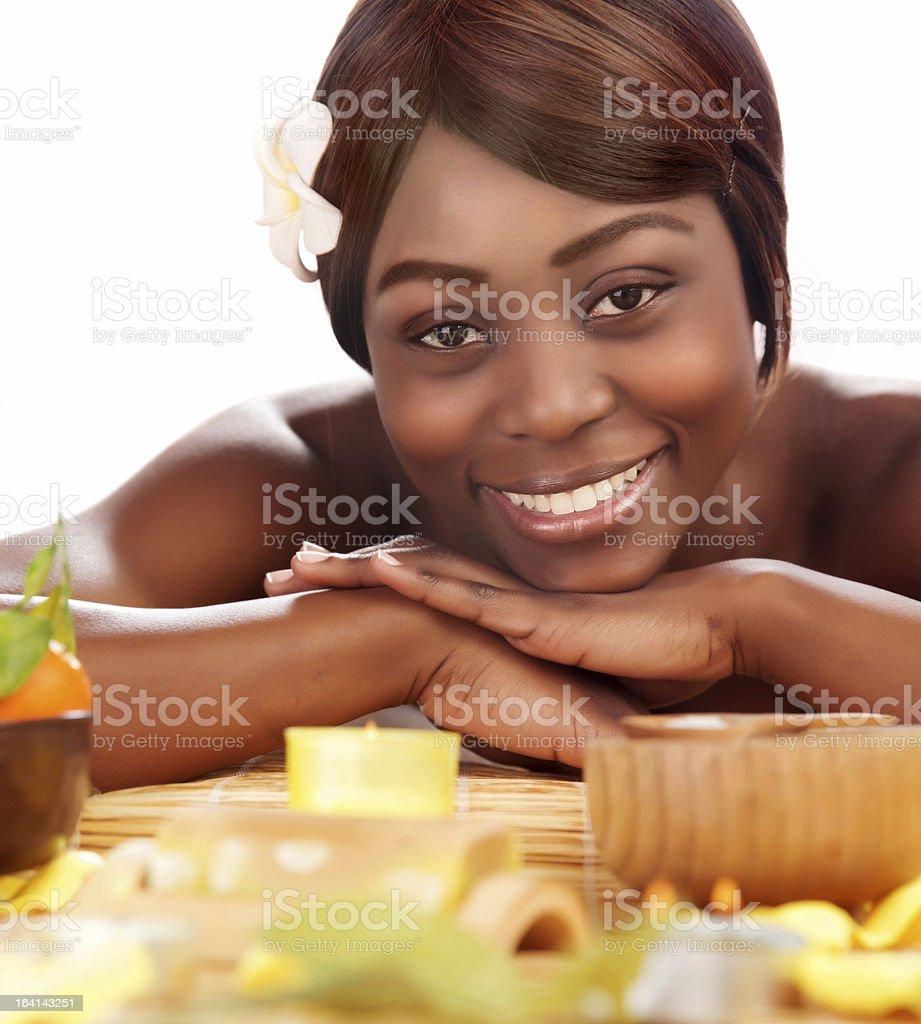 Black girl enjoying day spa royalty-free stock photo
