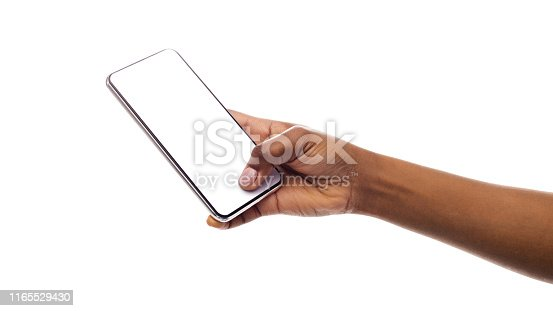 614011750istockphoto Black girl's hand holding phone with blank screen, mockup 1165529430