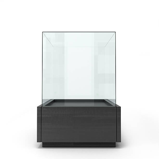 black glass window isolated on a white background front view - retail display stock photos and pictures