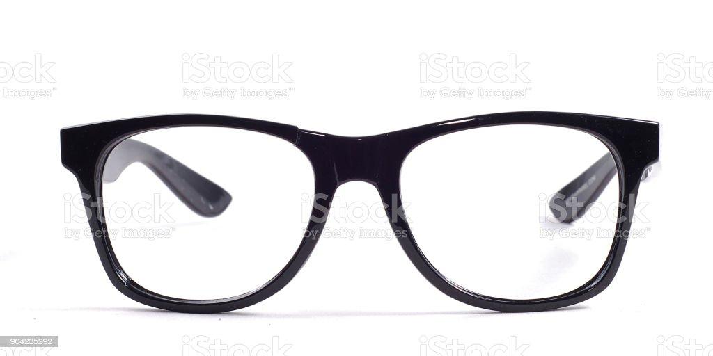 black glasses on a white background stock photo