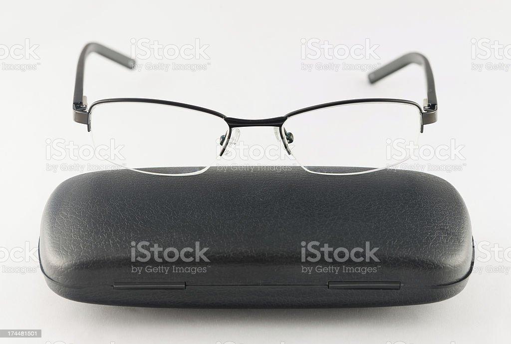 Black glasses on white background royalty-free stock photo