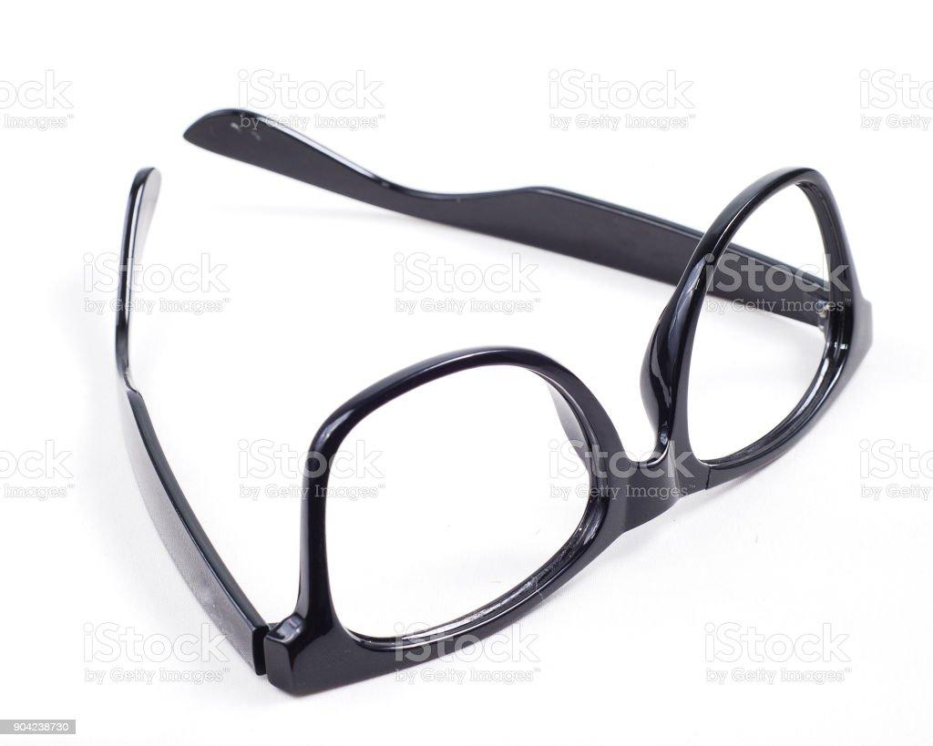 black glasses on white background stock photo