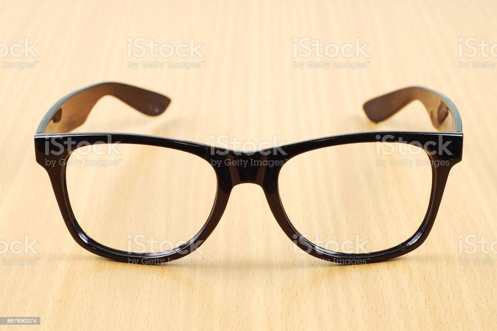 black glasses on wood  background stock photo