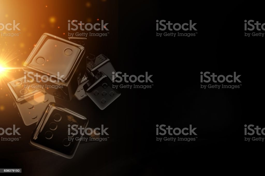 Black Glassy Casino Dices stock photo