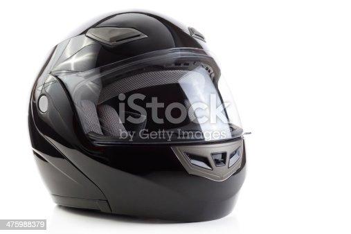 Black flip up helmet for racing motorbike sports
