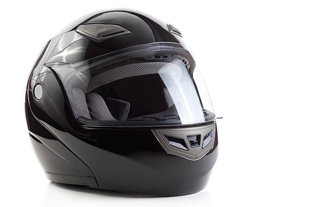black, glossy motorcycle helmet - helmet visor stock photos and pictures