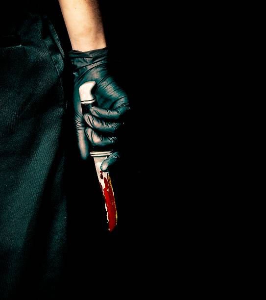 black glove and bloody knife - killer stock photos and pictures