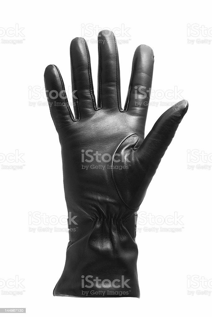 Black glove gesticulating stock photo