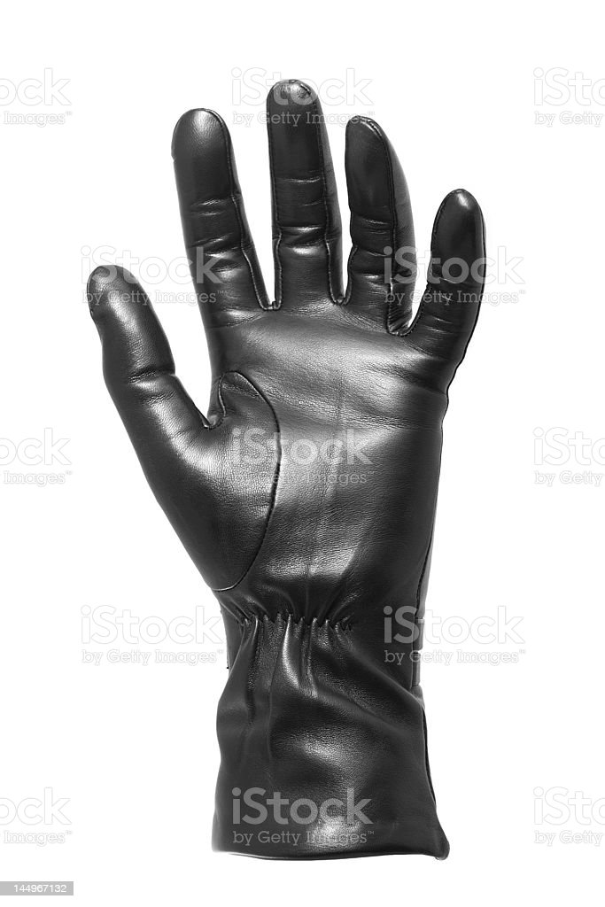 Black glove gesticulating royalty-free stock photo