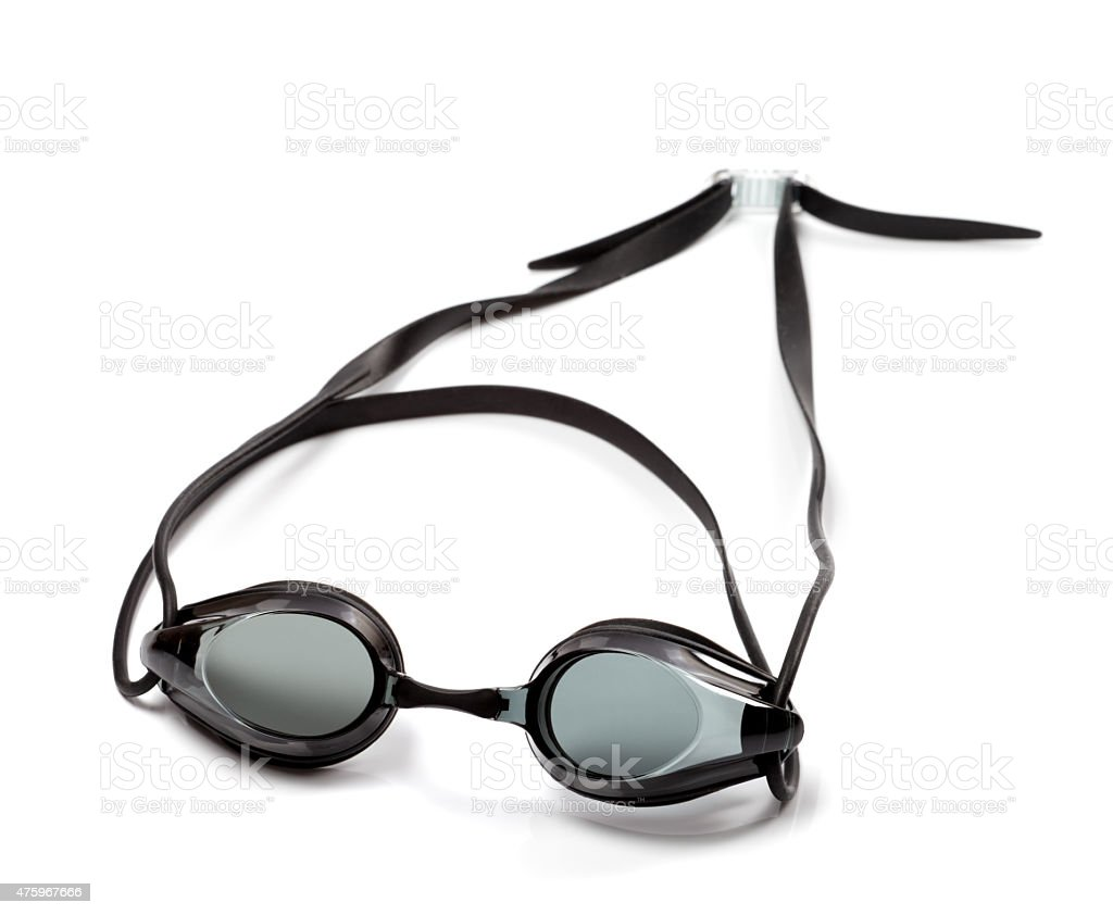 Black goggles for swimming on white background stock photo