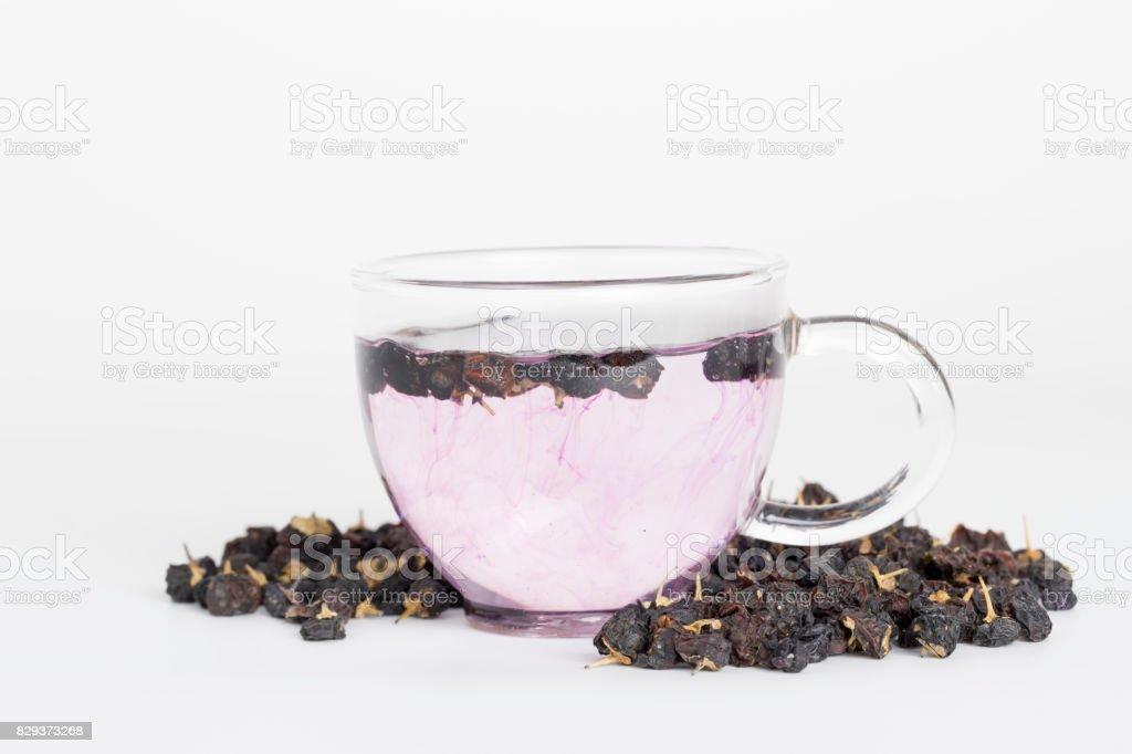 白地に黒の室伏ベリー茶。 ストックフォト