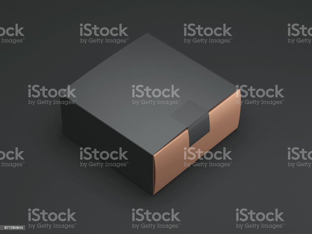 Black Gold Box with black sticker and cover stock photo