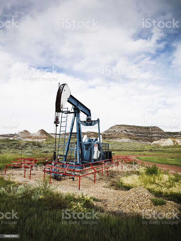 Black Gold Canada Oil Drilling Pumpjack royalty-free stock photo