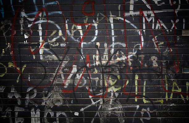 Black Graffiti Wall stock photo