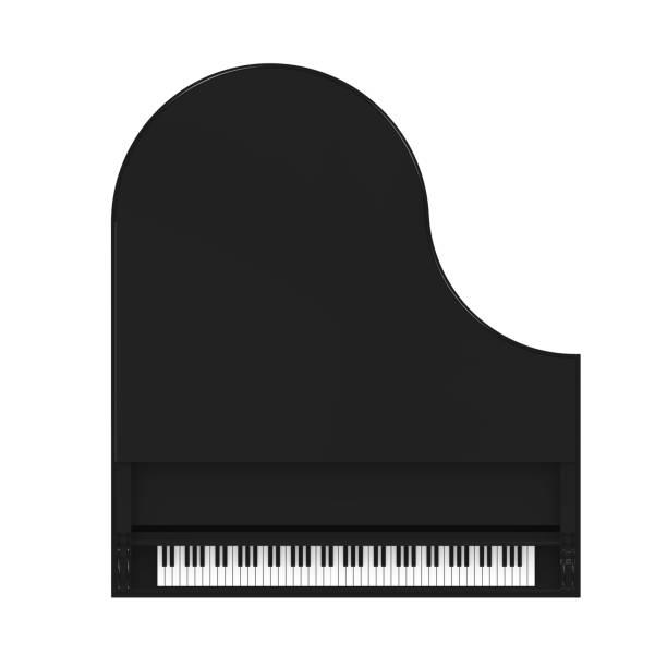 Piano à queue noir isolé - Photo