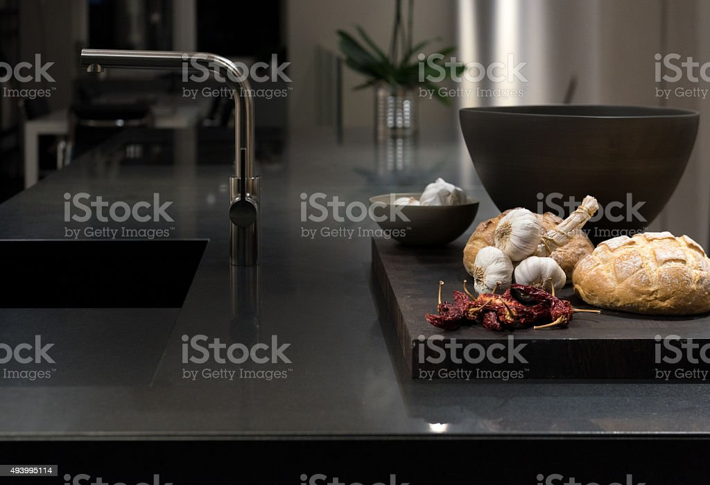Black Granite Kitchen stock photo