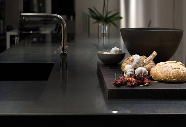 Black Granite Kitchen stock photo