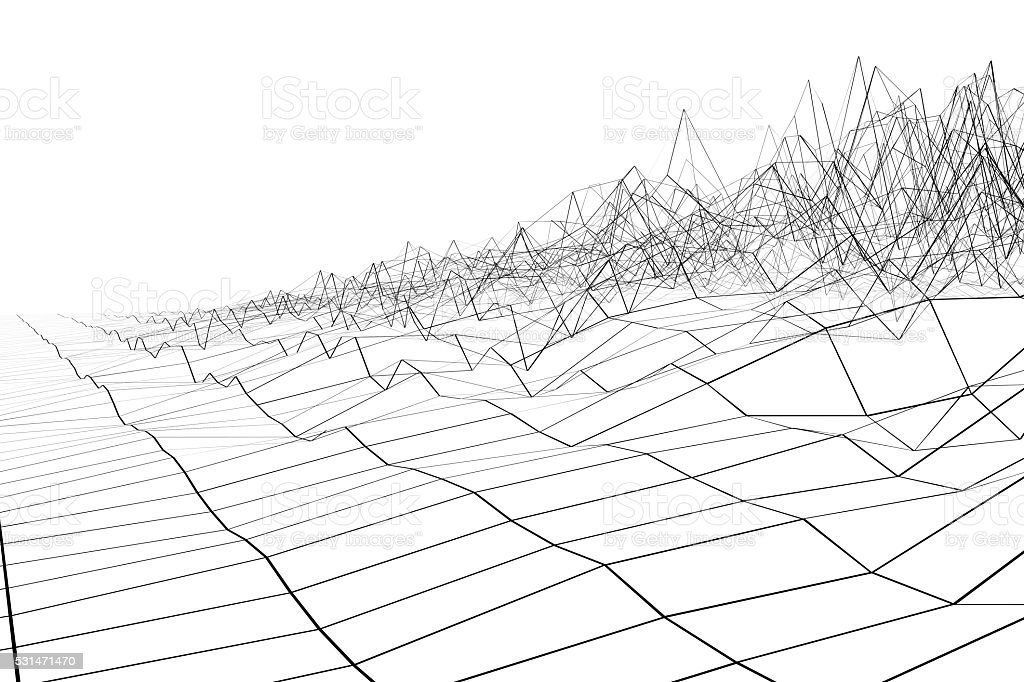 Black grid waveform stock photo