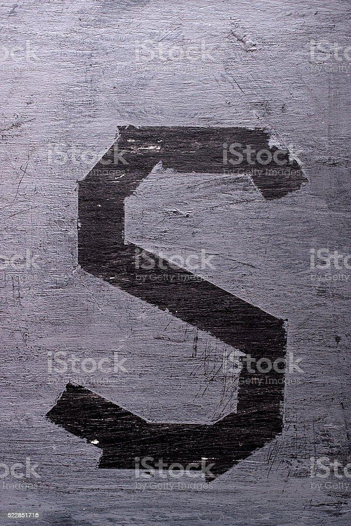 Black grunge alphabet. Letter S stock photo