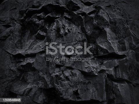 Volumetric rock texture. 3D effect. Black stone background for your design.