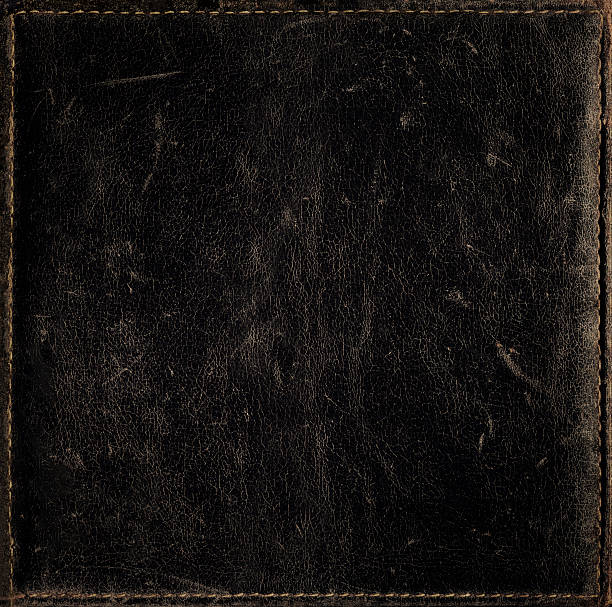 Black Grunge Background From Distress Leather Texture With Stitched Frame Stock Photo