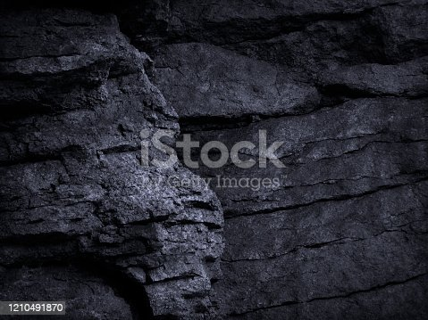 636075756 istock photo Black grunge background. Rock texture. Fragment of a mountain close-up. Stone background. Dark gray rock texture for grunge background. 1210491870