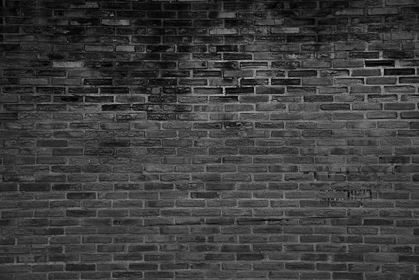 black grunge brick wall texture background stock photo