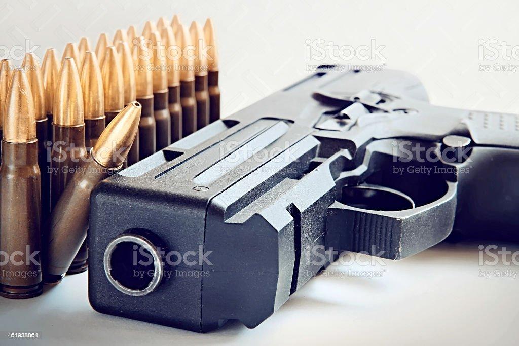 Black gun closeup. stock photo