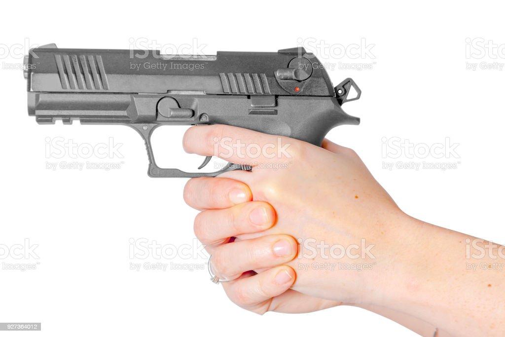 Black gun in hand - Royalty-free Arm Stock Photo