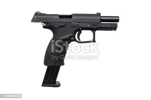 istock Black gun pistol isolated on white background 1148994230