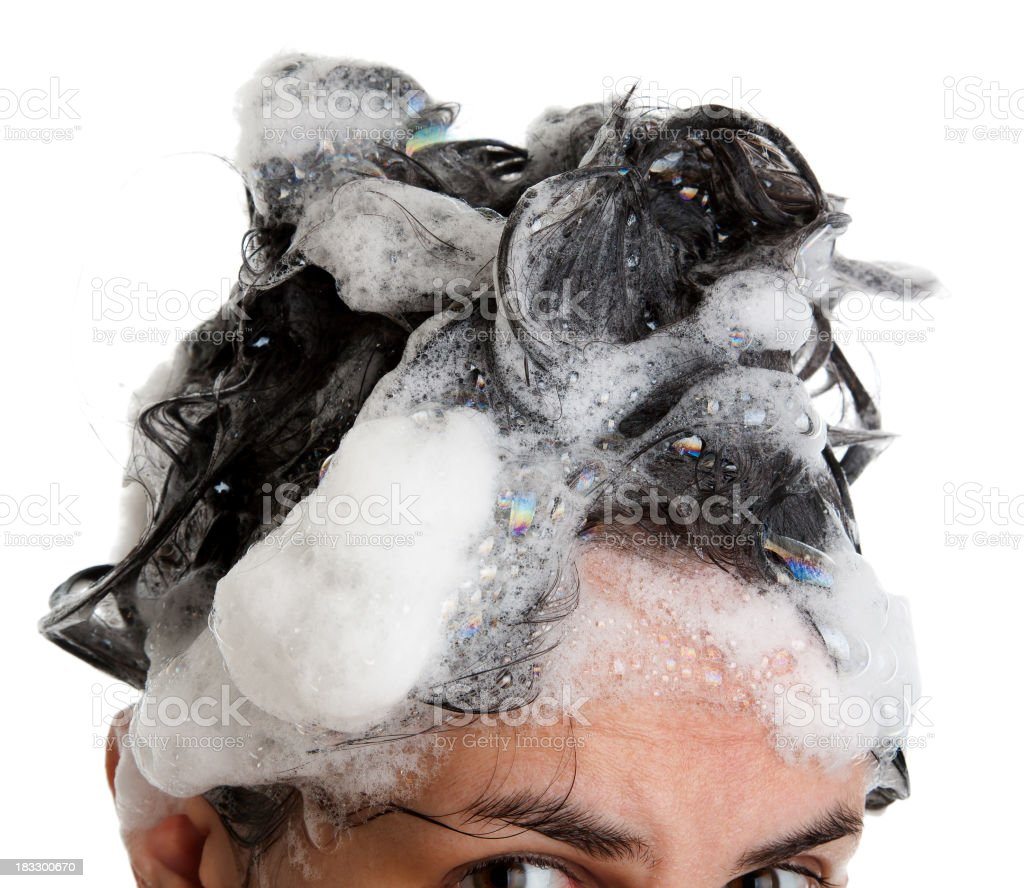 black hair washed in a lather royalty-free stock photo