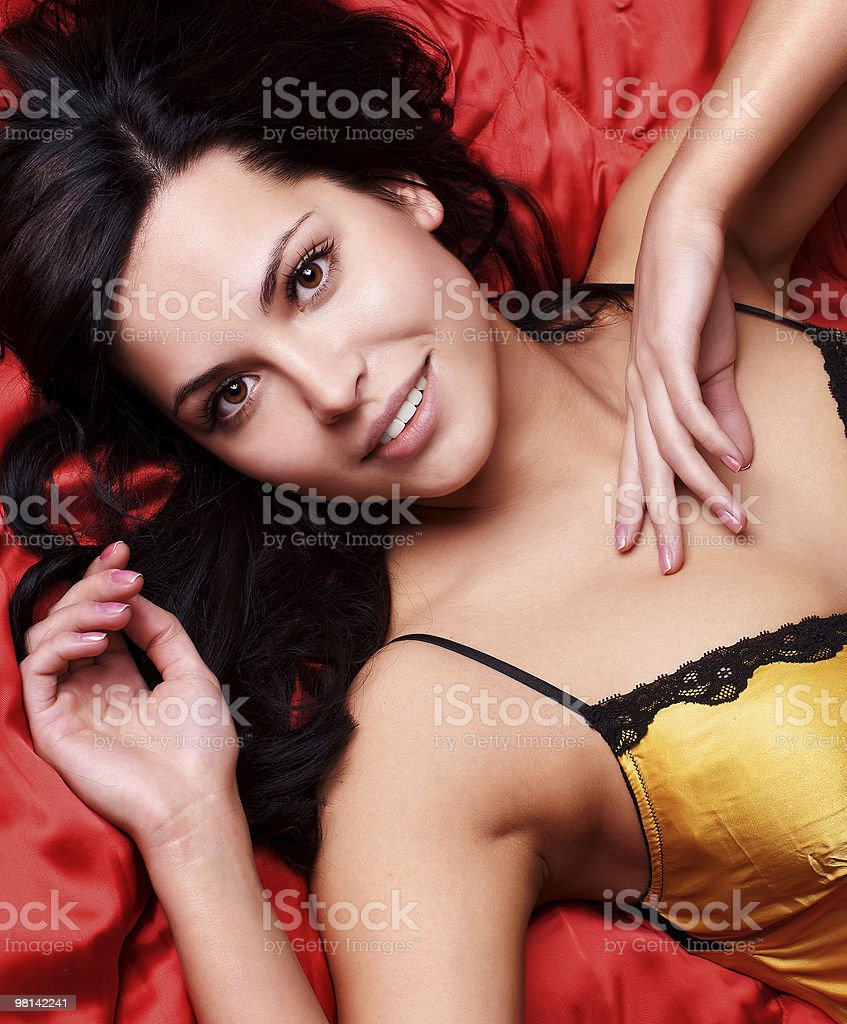 black hair young woman portrait, studio shot royalty-free stock photo