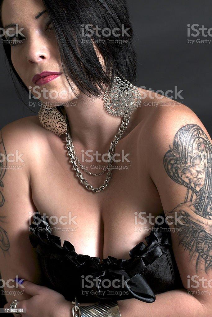 Black Haired Pretty Punk Tattoo Goth Female royalty-free stock photo