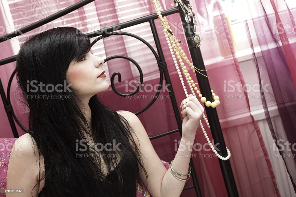 Black haired Woman stock photo
