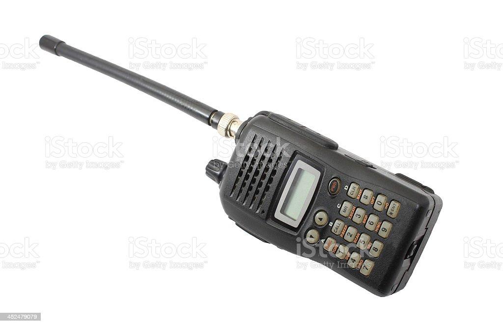 Black ham radio isolated on white stock photo