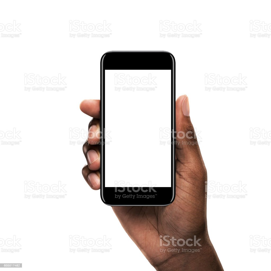 Black hand holding a smartphone with blank screen stock photo